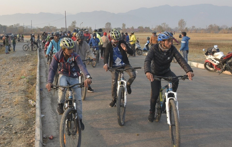 Kaski: Sahara Club Organizes Bicycle Rally For The Promotion Of 16th Aaha! RARA Gold Cup