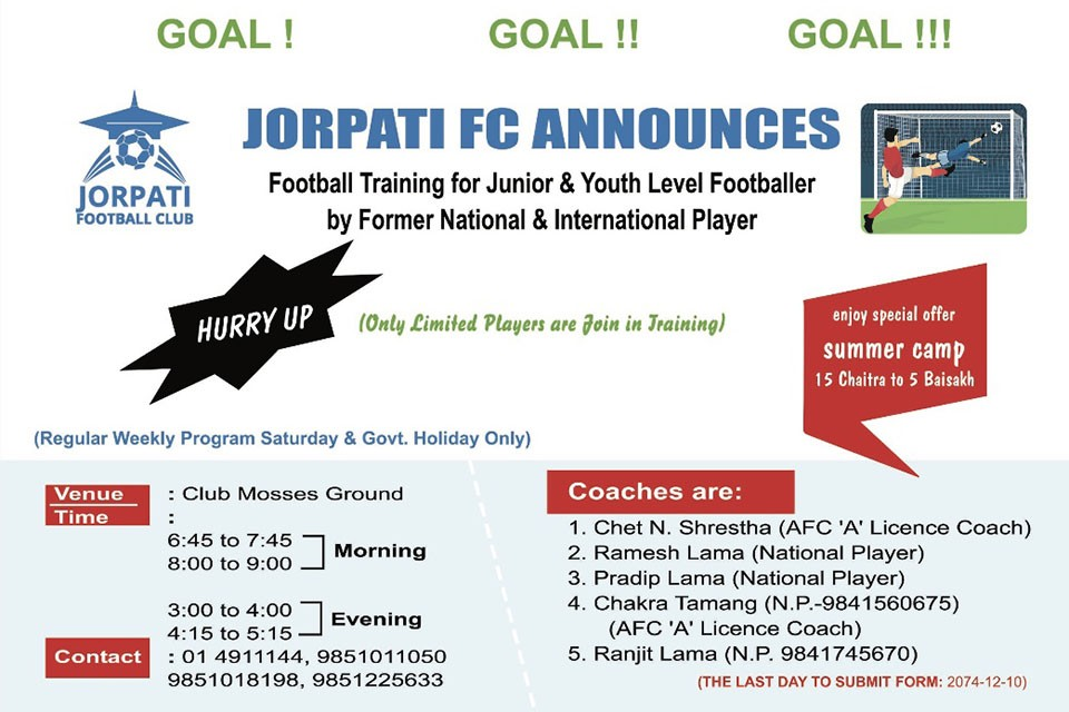 Kathmandu: Jorpati FC Starting Summer Camp From Chaitra 15