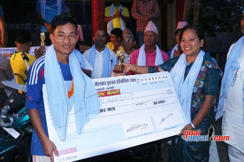 1st Lalbandi Gold Cup: Prabin Syangtan Adjudged MVP; Receives Rs 50,000 Cash