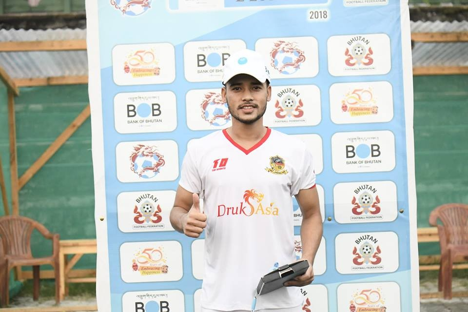 Prakash Budhathoki Receive M.O.M Award In Paro FC's Emphatic Win