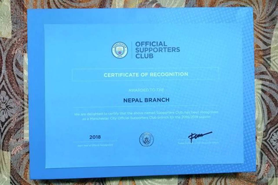 Manchester City Fan Club Nepal Gets An Official Stamp From Manchester City FC