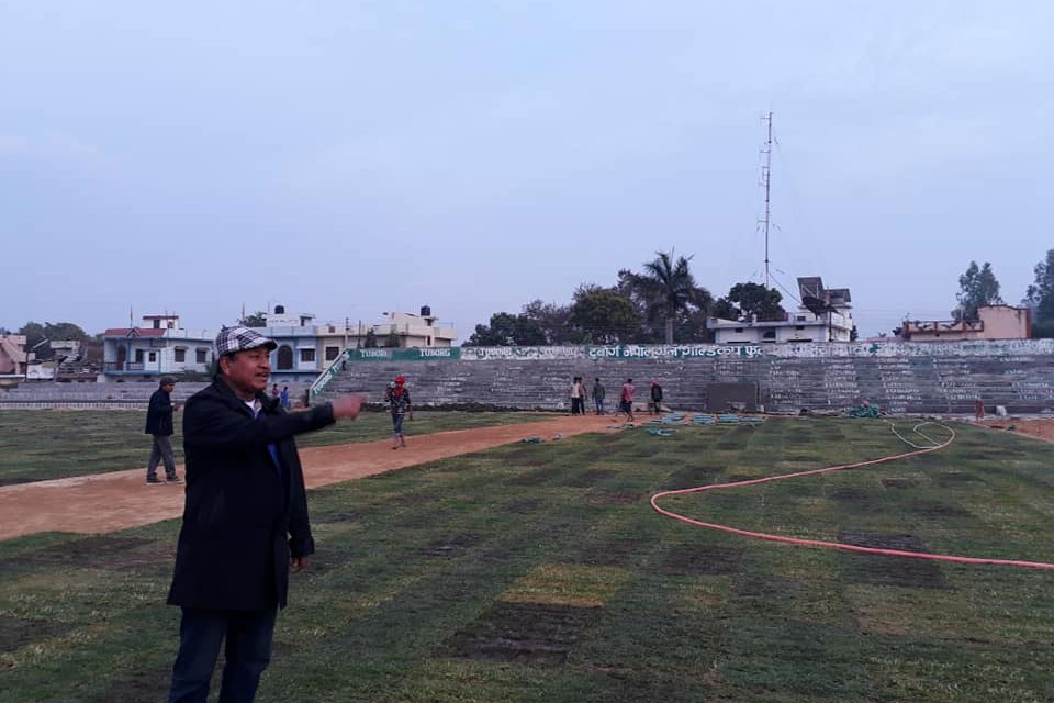 National Sports Council Spends Nrs 36 Lakh To Lay Bermuda Grass At Nepalgunj Stadium