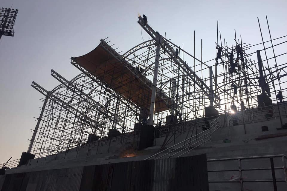 Roof Installation Begins At VIP Section Of Dasharath Stadium