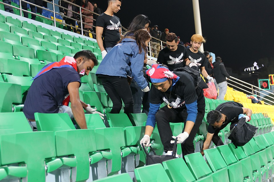 Nepalese Football Fans, Officials Clean Dasharath Stadium After Nepal Vs Maldives Match