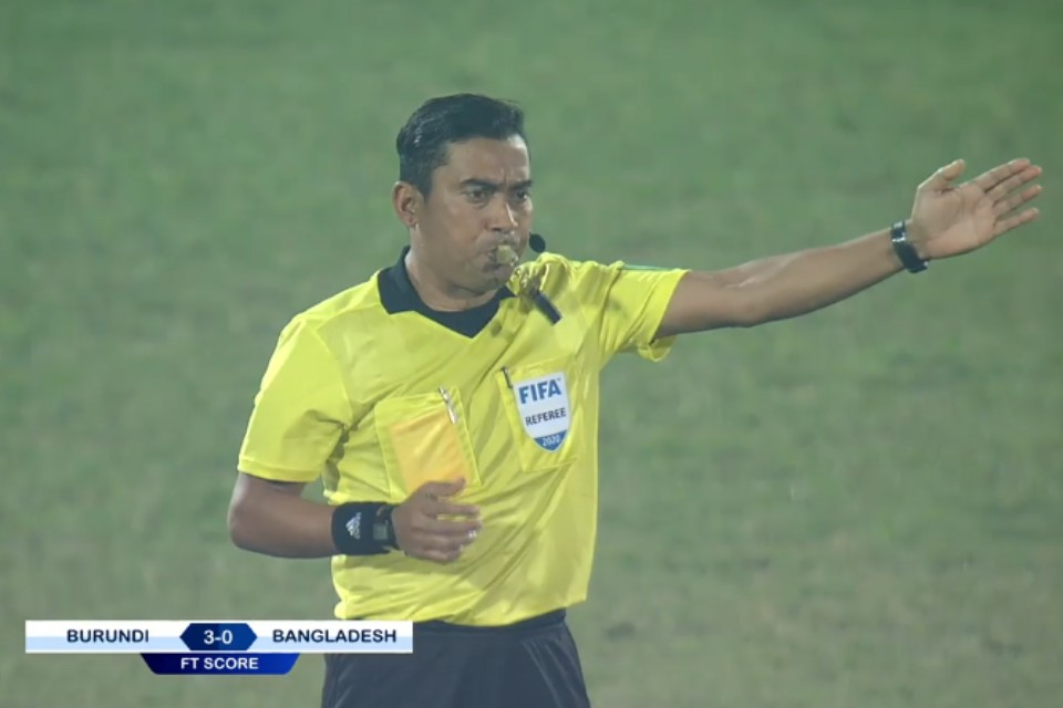 FIFA Referee Sudis Pandey Conducts Bangabandhu Gold Cup SF Match Between Burundi & Bangladesh