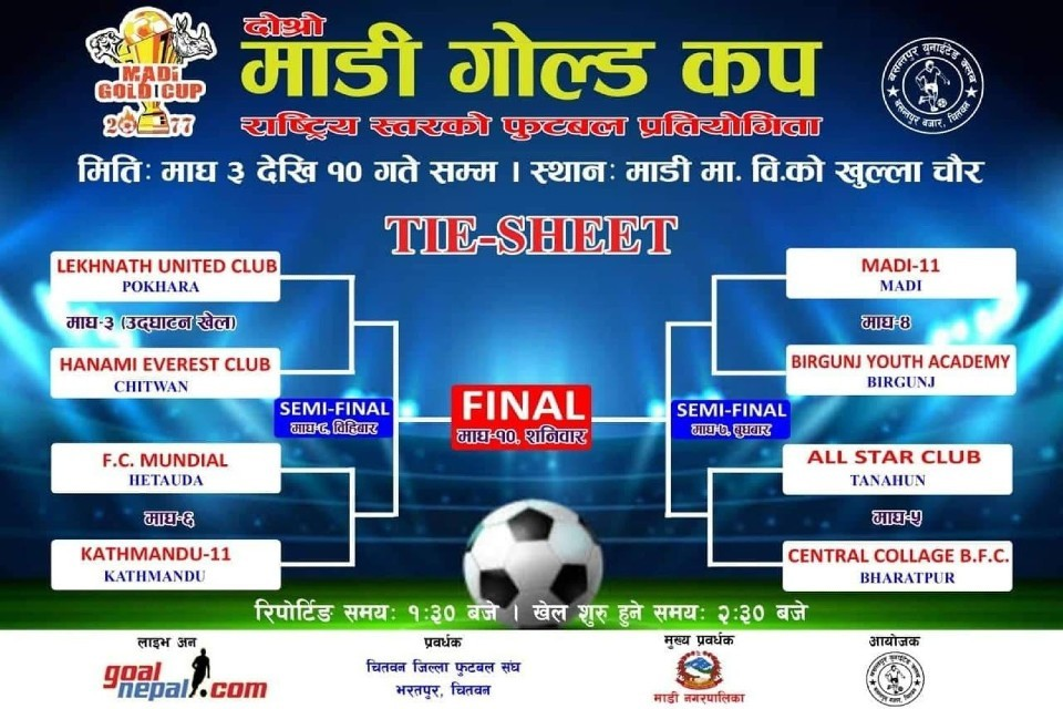 2nd Madi Gold Cup Kicking Off Today; Lekhnath United Pokhara Vs Everest FC Chitwan Today